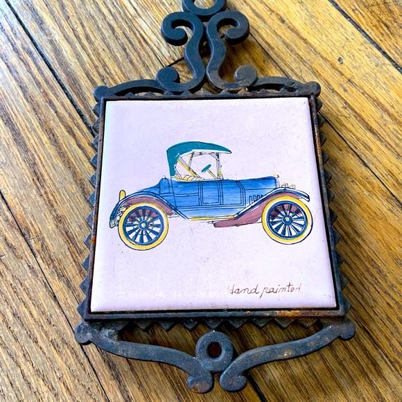 Vintage Race car tile and metal trivet